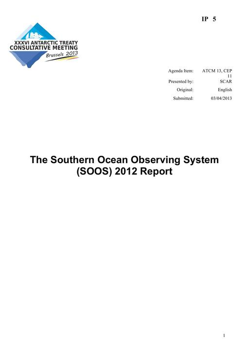 IP005: The Southern Ocean Observing System (SOOS) 2012 Report