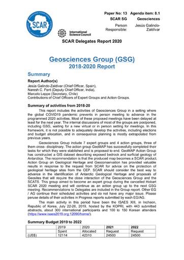 SCAR XXXVI Paper 13: Report of Geosciences Group