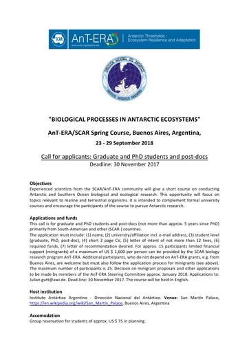 AnT-ERA: Biological Processes in Antarctic Ecosystems Spring Course Call