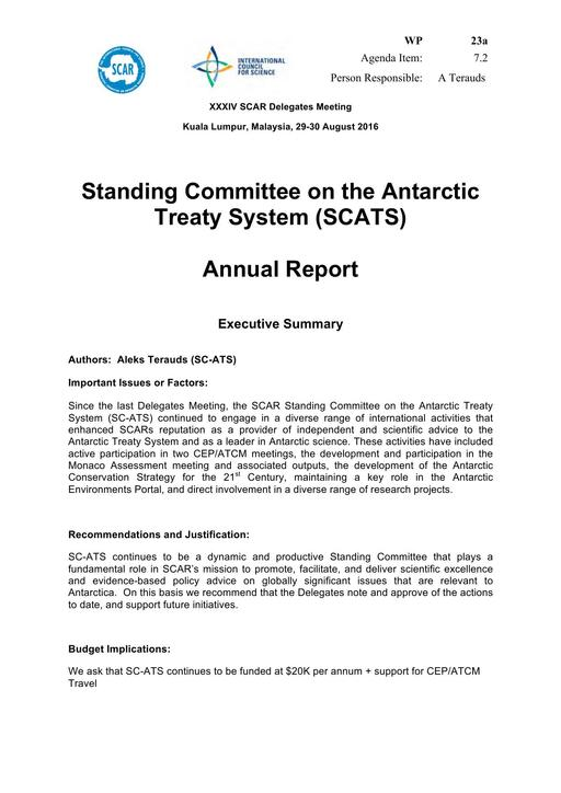 SCAR XXXIV WP23a: Report from SCATS (Standing Committee on the Antarctic Treaty System) on General Activities