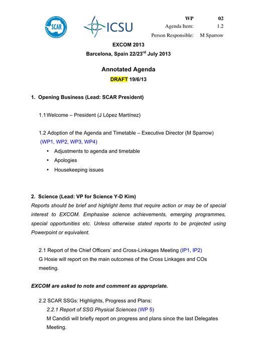 SCAR EXCOM 2013 WP02: Annotated Agenda
