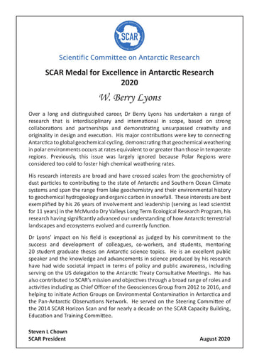 Berry Lyons - SCAR Medal for Excellence in Antarctic Research 2020