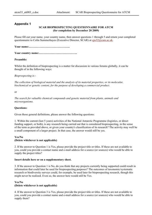 ATT003 to WP002: SCAR Bioprospecting Questionnaire for ATCM (Attachment)