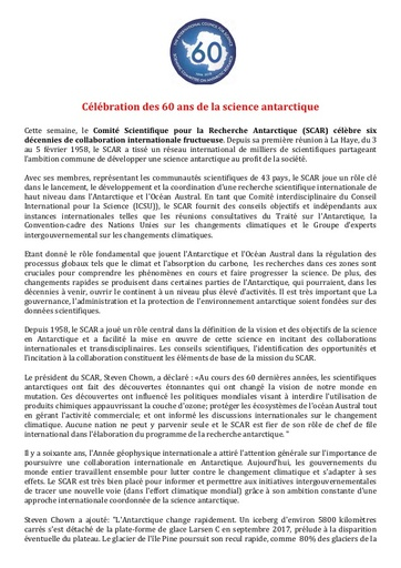 French version of SCAR's 60th Anniversary Press Release