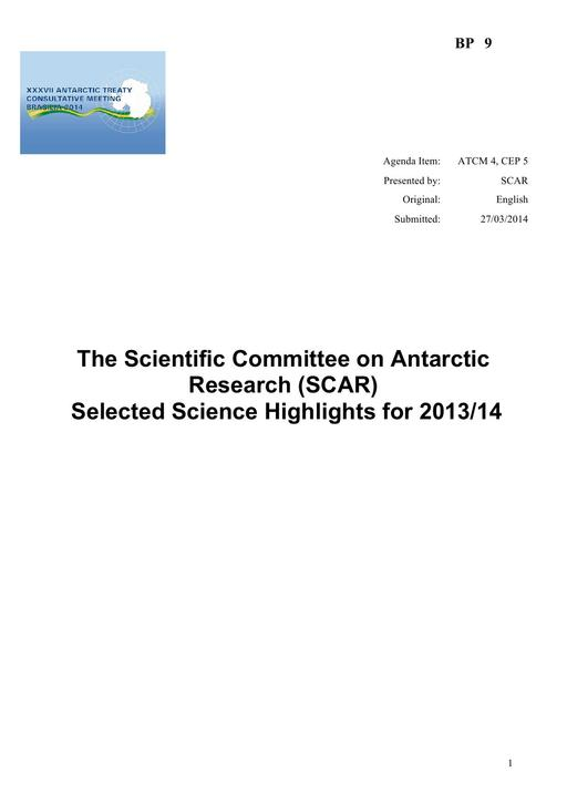 BP009: The Scientific Committee on Antarctic Research (SCAR) Selected Science Highlights for 2013/14