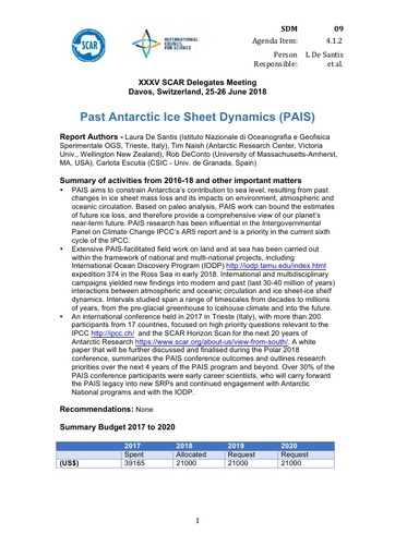 SCAR XXXV WP09: Past Antarctic Ice Sheet Dynamics (PAIS)