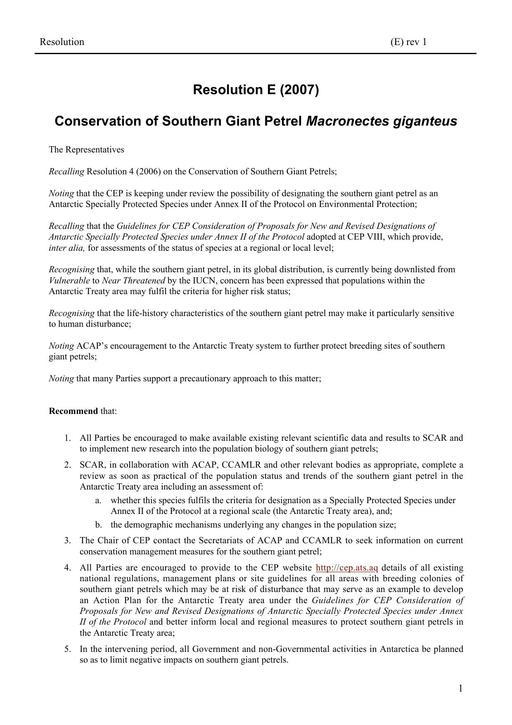 Resolution E (2007): Conservation of Southern Giant Petrel Macronectes giganteus