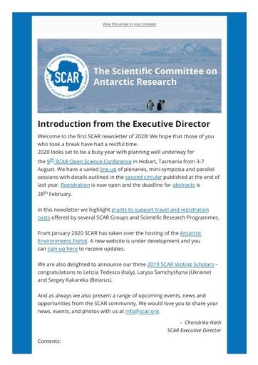 SCAR Newsletter January 2020