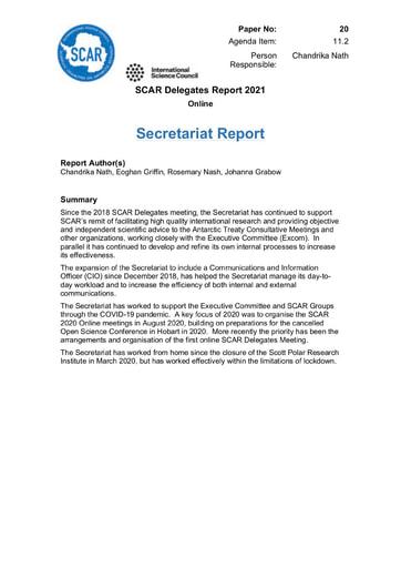 SCAR XXXVI Paper 20: Secretariat Report