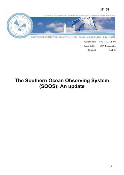 IP051: The Southern Ocean Observing System (SOOS): An Update