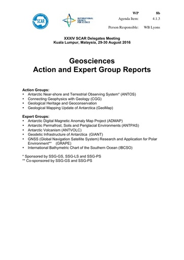 SCAR XXXIV WP08b: Reports from Geosciences Action and Expert Groups