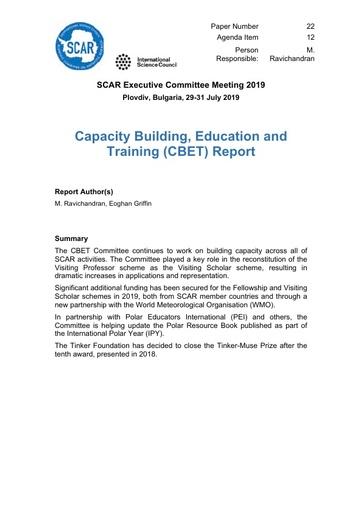SCAR EXCOM 2019 Paper 22: CBET report