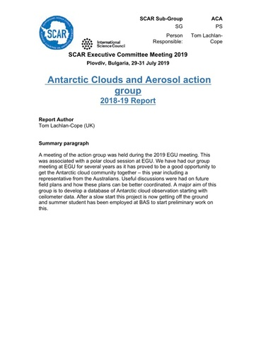 ACA Action Group Report 2019