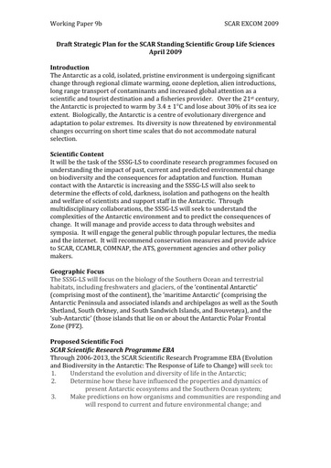 SCAR EXCOM 2009 WP09b: Strategic Plan for the SCAR Standing Scientific Group for the Life Sciences