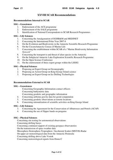 SCAR XXVIII 21: XXVIII SCAR Recommendations
