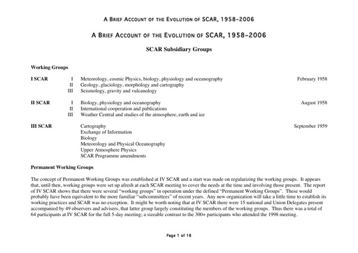 A Brief Account of the Evolution of SCAR 1958-2006