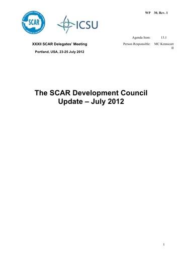 SCAR XXXII WP30: The SCAR Development Council