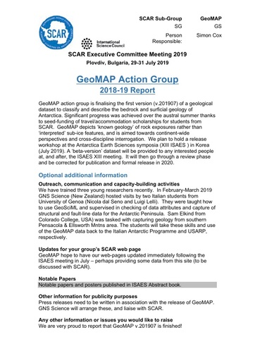 GeoMAP Action Group Report 2019