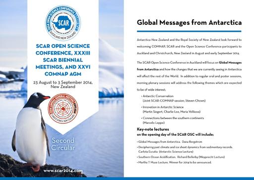 SCAR Open Science Conference 2014 - 2nd Circular