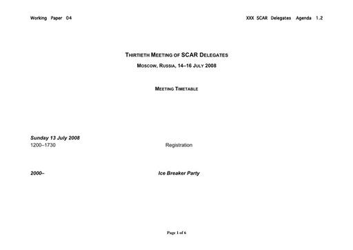 SCAR XXX WP04: Timetable