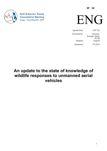 IP010: An update to the state of knowledge of wildlife responses to unmanned aerial vehicles