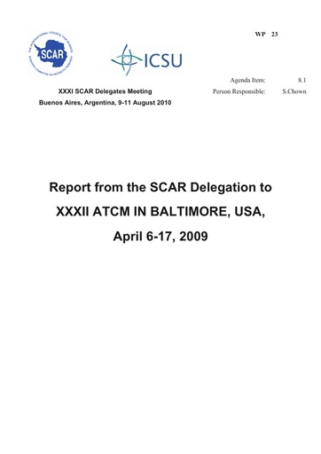 SCAR XXXI WP23: Report of SC-ATS, Baltimore, 2009