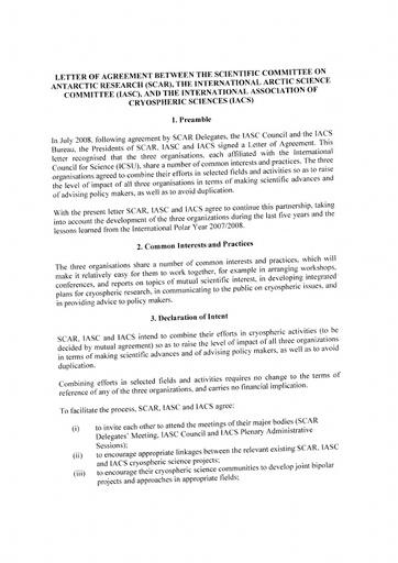 LoA between IASC, SCAR and IACS, signed 16 April 2013