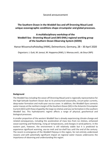 Weddell Sea - Dronning Maud Land (WS-DML) Workshop, April 2020 - 2nd Announcement