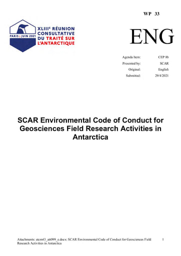 WP033: SCAR Environmental Code of Conduct for Geosciences Field Research Activities in Antarctica
