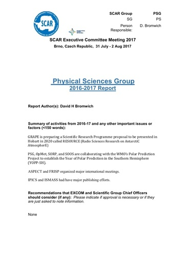 SCAR EXCOM 2017 Paper 4: Report of Physical Sciences Group AND Physical Sciences Group Reports