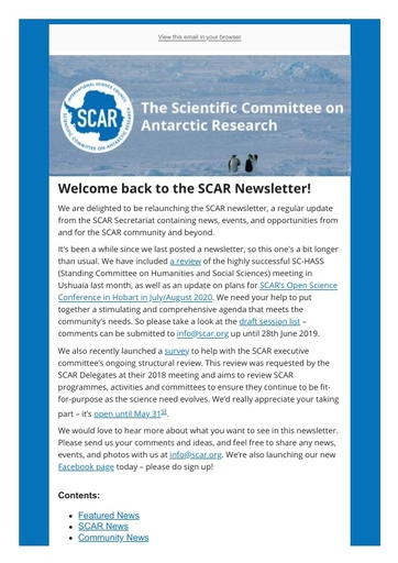 SCAR Newsletter May 2019