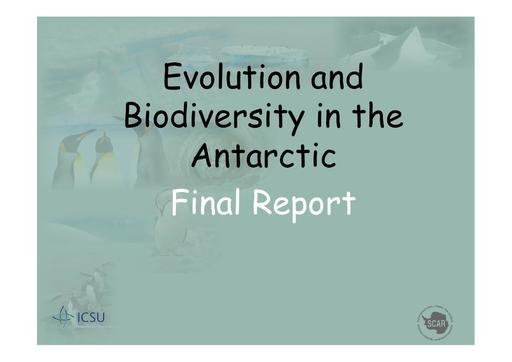 SCAR EXCOM 2013 WP08 Presentation: Final Report of EBA (Evolution and Biodiversity in the Antarctic)