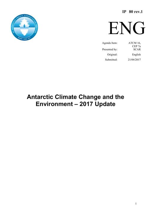 IP080: Antarctic Climate Change and the Environment – 2017 Update