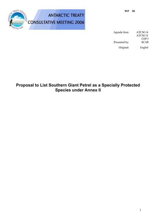 WP038: Proposal to List Southern Giant Petrel as a Specially Protected Species under Annex II