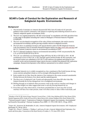 Code of Conduct for the Exploration and Research of Subglacial Aquatic Environments