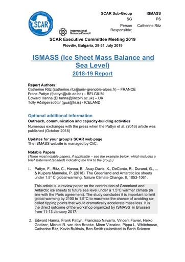 ISMASS Expert Group Report 2019