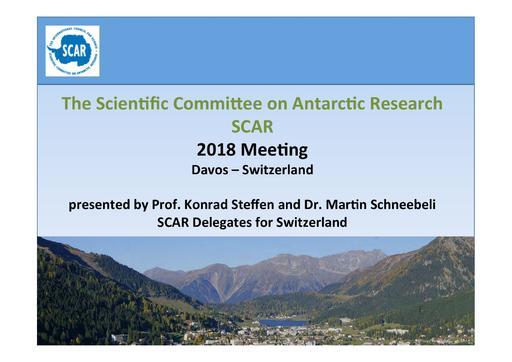 SCAR XXXIII IP09a: Bid to Host SCAR 2018 by Switzerland