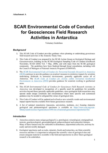 Environmental Code of Conduct for Geosciences Field Research Activities in Antarctica
