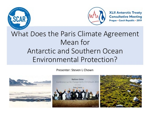 SCAR Lecture 2019: What does the Paris Climate Agreement Mean for Antarctic and Southern Ocean Environmental Protection?