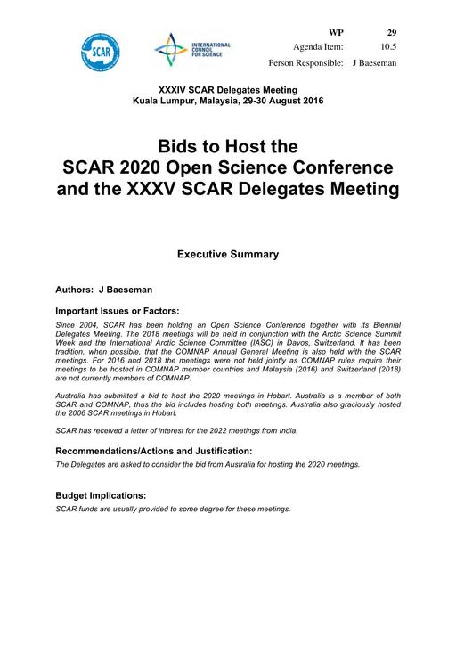 SCAR XXXIV WP29: Bids to Host SCAR 2020