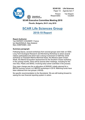 SCAR EXCOM 2019 Paper 13: Report from Life Sciences Group