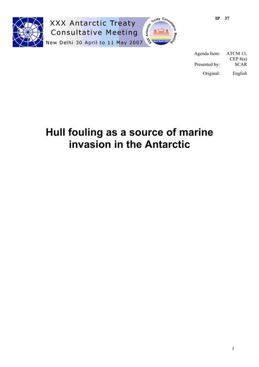 IP037: Hull fouling as a source of marine invasion in the Antarctic
