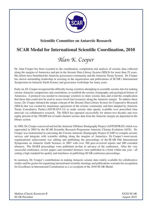 Alan Cooper - SCAR Medal for International Scientific Coordination 2010