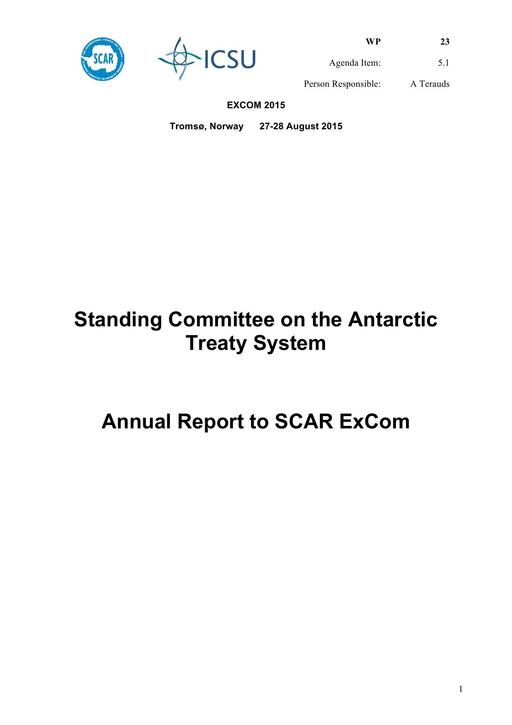 SCAR EXCOM 2015 WP23: Report from SCATS (Standing Committee on the Antarctic Treaty System)