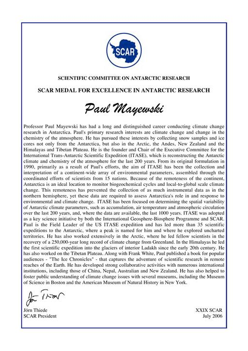 Paul Mayewski - SCAR Medal for Excellence in Antarctic Research 2006