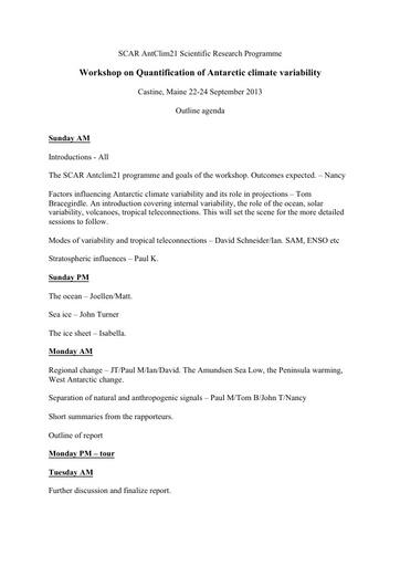 AntClim21 Theme 1 Workshop Agenda, 2013