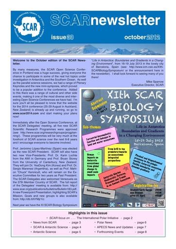 SCAR Newsletter 30 - October 2012