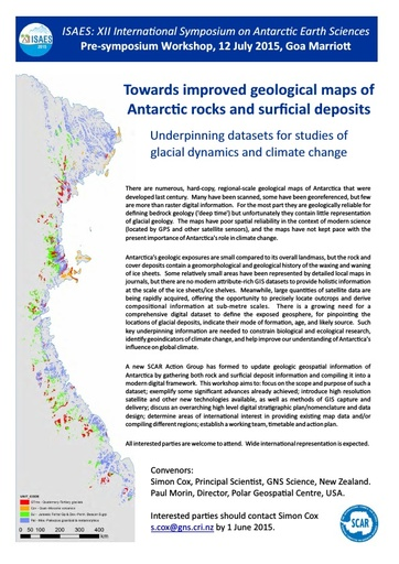 GeoMap Workshop 2015: Towards Improved Geological Maps of Antarctic Rocks and Surficial Deposits (Announcement)