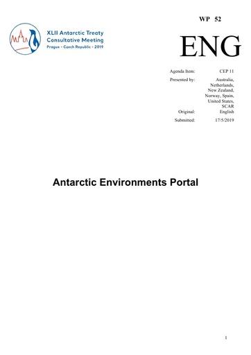 WP052: Antarctic Environments Portal