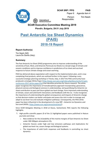 SCAR EXCOM 2019 Paper 6: Report from PAIS SRP